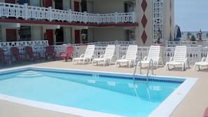Outdoor pool, open 10 AM to 7 PM, sun loungers