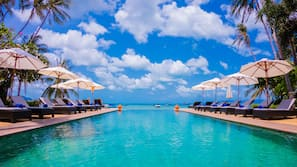 Outdoor pool, open 8 AM to 8:00 PM, pool umbrellas, pool loungers