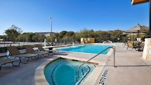 Indoor pool, outdoor pool, open 6 AM to 10 PM, pool umbrellas