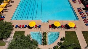 Seasonal outdoor pool, cabanas (surcharge), pool umbrellas
