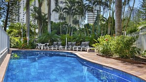 Indoor pool, outdoor pool, open 7 AM to 9 PM, pool loungers