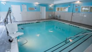 Indoor pool, open 8 AM to 10 PM, pool umbrellas