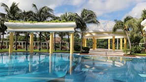 Indoor pool, 2 outdoor pools, pool umbrellas, sun loungers