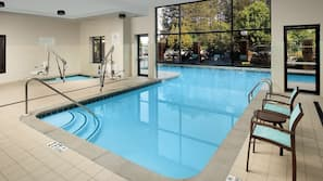Indoor pool, outdoor pool, open 9 AM to 10 PM, sun loungers