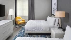 Hypo-allergenic bedding, down duvets, pillow-top beds, minibar