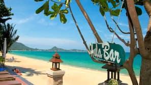 海灘、躺椅、太陽傘、沙灘巾