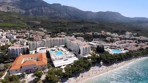 Beach nearby, beach umbrellas