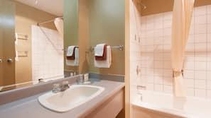 Combined shower/bathtub, hair dryer