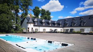 Indoor pool, seasonal outdoor pool, open 7 AM to 10 PM, free cabanas