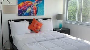 Individually decorated, individually furnished, bed sheets, alarm clocks