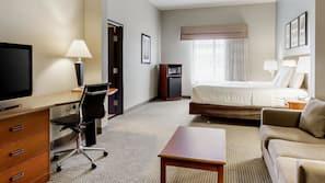 Down comforters, pillowtop beds, desk, blackout drapes