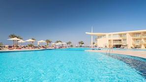 5 outdoor pools, pool umbrellas