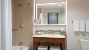 Combined shower/tub, designer toiletries, hair dryer, bathrobes