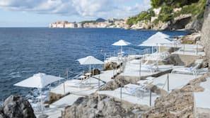 On the beach, sun-loungers, beach umbrellas, beach towels
