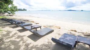私人海灘、白沙、沙灘巾
