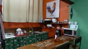 Fridge, stovetop, cookware/dishes/utensils