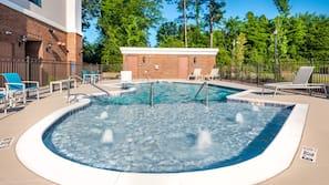 Seasonal outdoor pool, open 11:00 AM to 8:00 PM, pool umbrellas