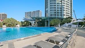 Indoor pool, 3 outdoor pools, open 6 AM to 6:30 PM, pool umbrellas