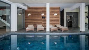 Indoor pool, open 9 AM to 8 PM, sun loungers