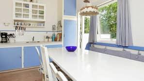 Fridge, microwave, coffee/tea maker, high chair