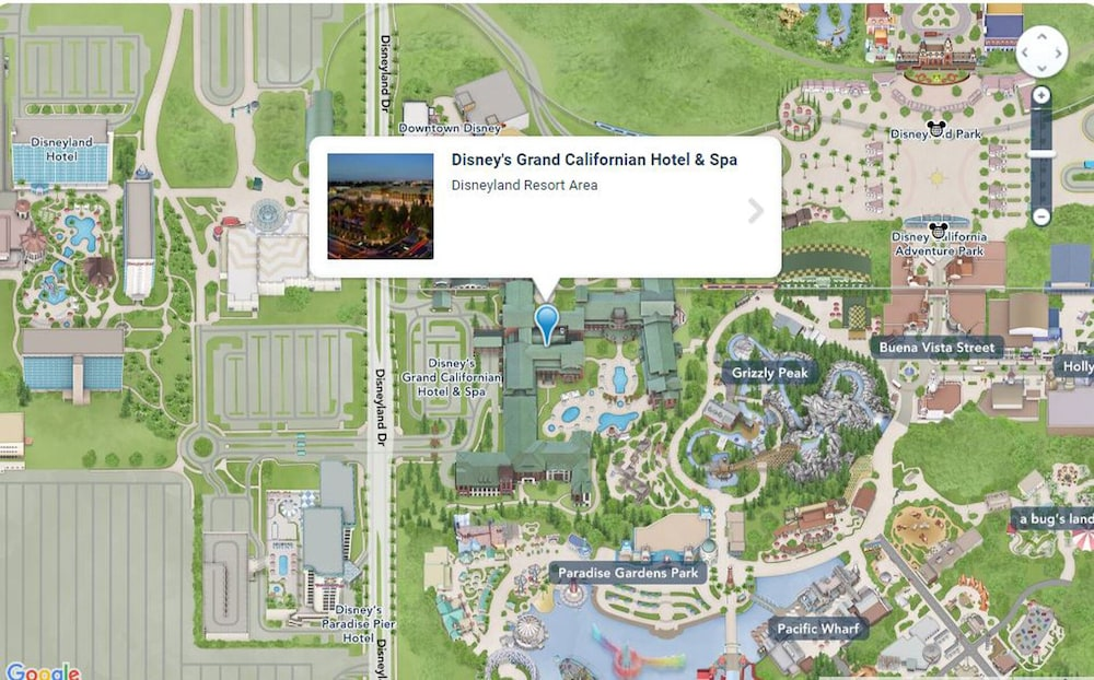 In the of the Park; The Villas at Disney's Grand Californian ... Downtown Disney Hotel Map on