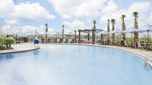 Outdoor pool, open 10:00 AM to 10:00 PM, sun loungers
