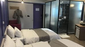 1 bedroom, down comforters, memory foam beds, blackout drapes