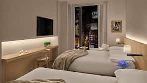 Hypo-allergenic bedding, down duvet, pillow top beds, minibar