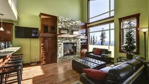 TV, fireplace, toys