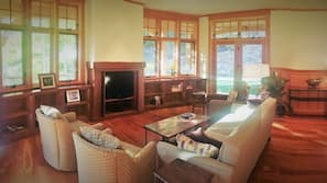 TV, fireplace, books, stereo