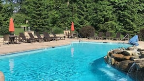 Seasonal outdoor pool, open 8 AM to 10 PM, pool umbrellas, sun loungers