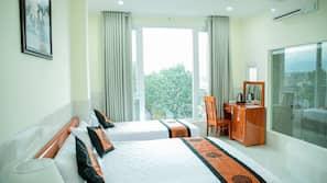 Minibar, desk, soundproofing, rollaway beds