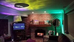 TV, fireplace, video game console, DVD player