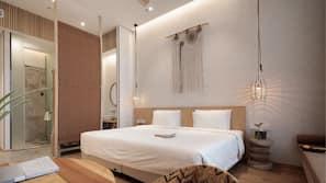 高級寢具、記憶棉床墊、房內夾萬、窗簾