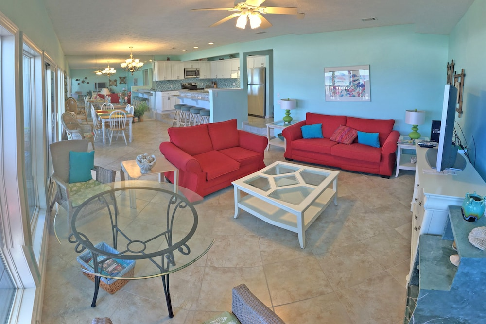 Living Room, Exquisite 1st-floor Beachfront, Low Density Complex, Step From Deck to Sand