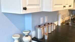 Microwave, dishwasher, coffee/tea maker, highchair