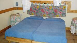 Desk, bed sheets