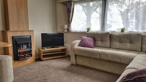 Fernseher, Kamin, DVD-Player, Videothek