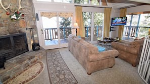 TV, fireplace, DVD player, stereo