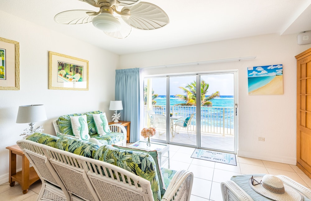 Living Room, Magnificent Ocean Views- 2 Bedroom Beachfront Condo at The Reef Resort?
