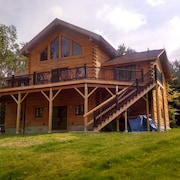 Contemporary Log Home Tucked Away Yet Convenient to I 93 With Fantastic View