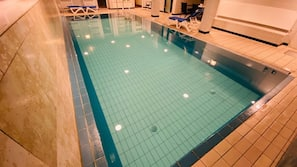 Indoor pool, open 6:30 AM to 10:00 PM, sun loungers