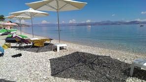 Sun-loungers, beach towels