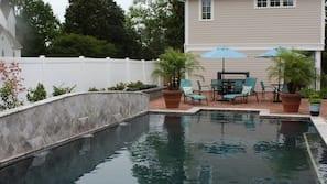 Seasonal outdoor pool, open 8 AM to 7 PM, pool umbrellas, sun loungers