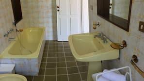Free toiletries, hair dryer, bidet, towels