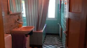 Combined shower/tub, hair dryer, towels, shampoo