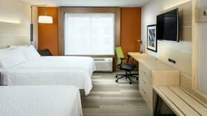 In-room safe, desk, laptop workspace, blackout curtains