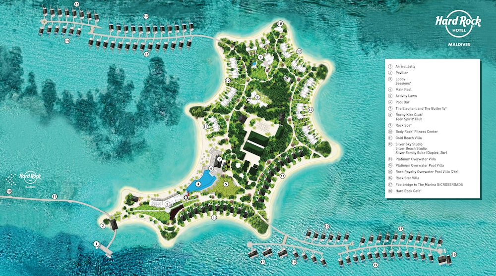Property map, Hard Rock Hotel Maldives