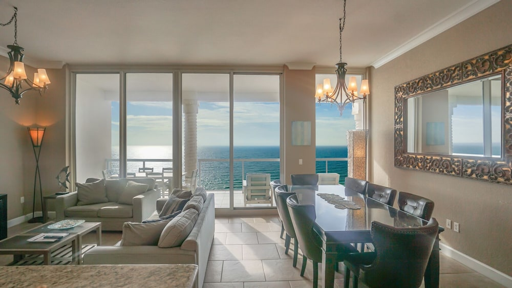 Living Room, Beautiful Ocean Views w/ Seasonally Heated Pools, Grill, & Free Beach Chairs!