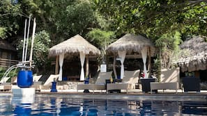 Outdoor pool, open 6:00 AM to midnight, sun loungers